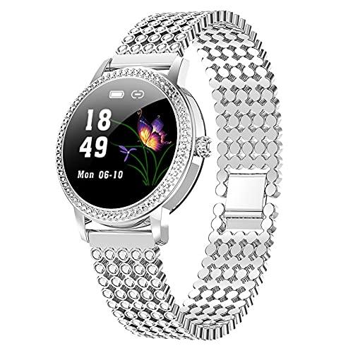 APCHY Women Reloj Inteligente Smart Watch,Rastreador De Fitness De 1.04 Pulgadas Pantalla con Presión Arterial Ritmo Cardíaco Monitoreo Fisiológico Femenino Pulsera Impermeable Cronómetro,B