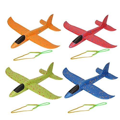 Herefun Segelflugzeug, 4 Stück Kinder Styroporflieger Flugzeug Spielzeug und 4 Stück Slingshot, Manuelles Werfen Flugzeugspielzeug, Modell Schaum Flugzeug, Flugzeug Outdoor Sportarten Spielzeug