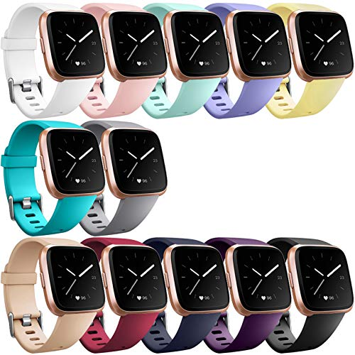 Hamile Bands (12 Pack) Compatible for Fitbit Versa/Versa 2/Lite/SE, Classic Soft Watch Bands for Fitbit Versa 2 & Fitbit Versa & Lite & Special Edition Smartwatch Wristbands, for Women Men, Large