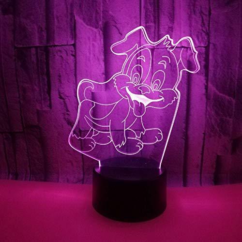 Luz de noche LED con ilusión 3D, interruptor táctil de conversión 7 colores, lámpara de escritorio USB para Navidad o decoraciones casa, control remoto para cachorros