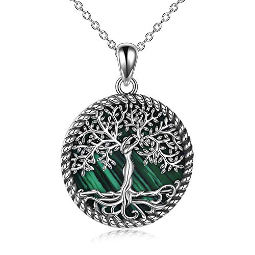 YAFEINI Tree of Life Necklace Sterling Silver Malachite Tree of Life Pendant Necklace for Women Jewelry
