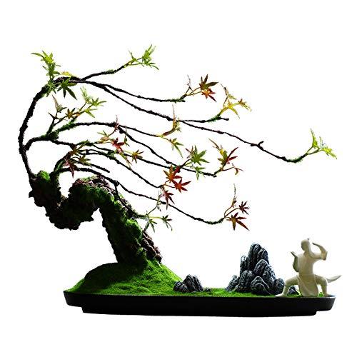 árbol falso Decoración de la oficina en el hogar Bienvenido artificial Pine Bonsai Decoración de escritorio Regalo Faux Potted Plant Piedra de montaña tallada artificial, 17.3