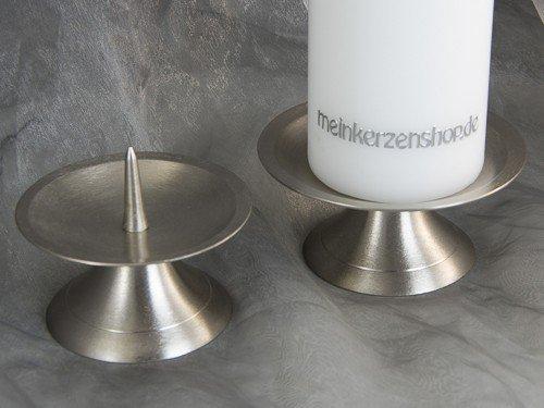 Kerzenteller Kerzenständer Kerzenhalter für Hochzeitskerze Taufkerze Silber 16551, Größe:10.5 cm Durchm.