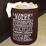 Cesta de lavandería plegable redonda grande plegable Cesta de almacenamiento de ropa sucia Bolsa organizadora de juguetes Elegante cubo de lavandería con letras (Reglas de lavandería) (Marrón)