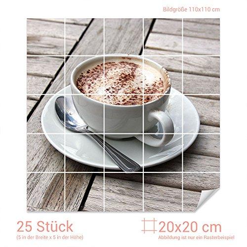 Graz Design 765309 tegelstickers melk - koffie voor tegels, keukenachterwanden met folie beplakken Fliesenmaß: 20x20cm (BxH) Afbeelding: 110 x 110 cm (b x h).