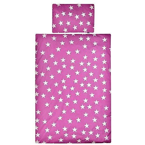 Aminata Kids Kinderbettwäsche 100 x 135 cm Sterne Stern-Motiv Mädchen Baumwolle mit Reißverschluss, unsere Kinder-Baby-Bettwäsche-Set ist weich und kuschelig Fuchsia violett pink weiß