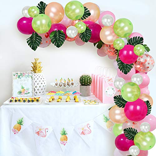 Tropical Balloons Garland Arch Kit, DIY Luau Balloon with Palm Leaves and Balloon Strip for Hawaii Themed Birthday Party Baby Shower Decorations