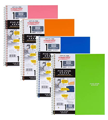 """Five Star Spiral Notebook, 1 Subject, Graph Ruled Paper, 100 Sheets, 11"""" x 8-1/2"""", Color Will Vary, 4 Pack (06190)"""