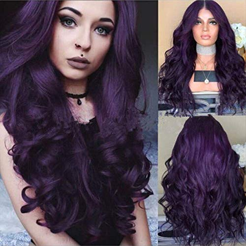 Lady Wig Purple Long Curly Hair Big Wave Lady Wig Halloween Role Playing Masquerade