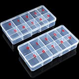 2 Pieces False Nail Tips Transparent Storage Box with 10 Number Empty Spaces Storage Case Container Nail Art Organizer Box Plastic Grid Box for Fingernail Crystal, Jewelry,Nail Accessories