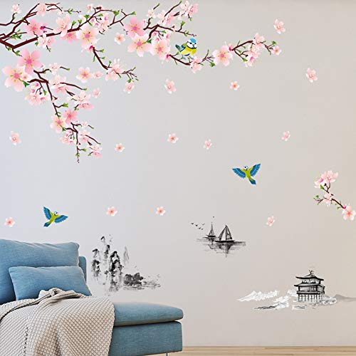 M ACHOOSE Wall Decal Pink Blossom Branch Peel and Stick Wall Decals Giant Wall Stickers Art Decor for Living Room Bedroom Office Classroom Vinyl Removable Wall Decoration Home Décor (Pink A)