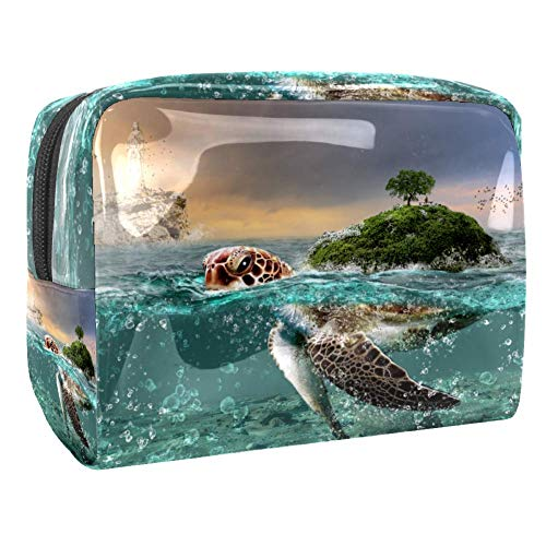 Maquillage Cosmetic Case Multifunction Travel Toiletry Storage Bag Organizer for Women - Turtle Seashore Island
