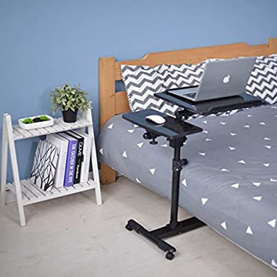 Qwork Mobile Laptop Desk Cart Tilting Table With Dual Surface,Angle and Height Adjustable Over Sofa Bed Table