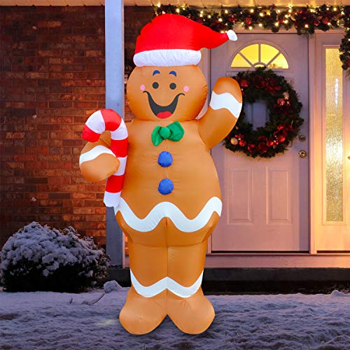 Megaction 5 Foot Christmas Inflatable Cute Gingerbread Man with Candy Cane- Yard, Home Party Blow Up Decoration