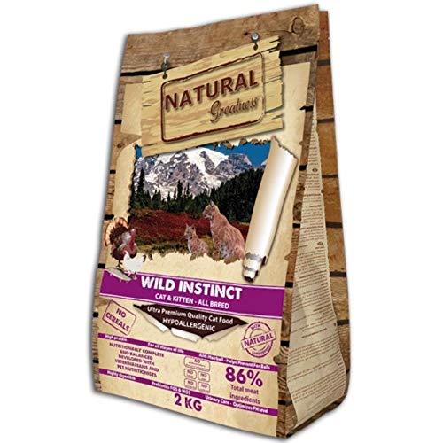 Natural Greatness Pienso para Gatos Cereales Wild Instinct Gatitos y Adultos Saco 2 kg Incluye 3 Latas Comida Húmeda | ANIMALUJOS (Saco 2 KG)