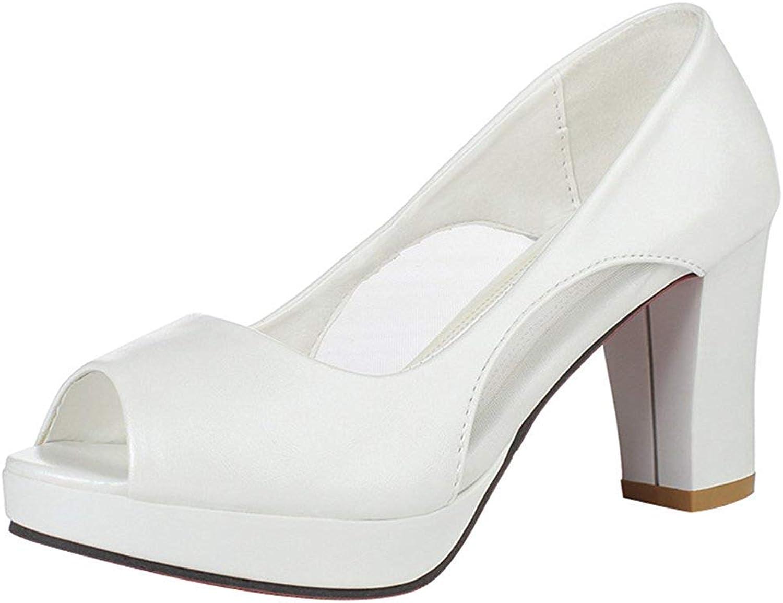 Ghapwe Women's Fashion Peep Toe Gauze Splicing Block High Heel Platform Slip On Sandals Red 7 M US
