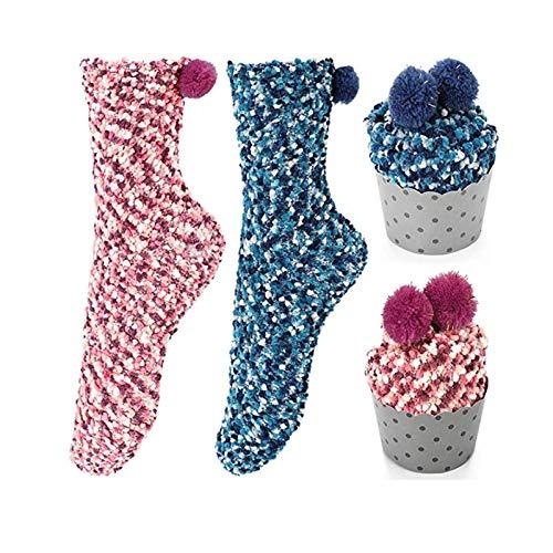 Homealexa 2 Paar Damen Mädchen Socken Kuschelsocken Weiche Warme Haussocken Flauschige Wintersocken mit Geschenkbox für Frauen Weihnachtsgeschenk, Rosa/Blau, Einheitsgröße