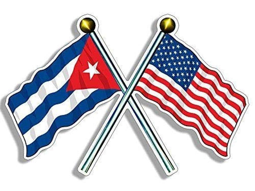 MAGNET 3x5 inch Crossed Poles USA & CUBA Waving Flags Sticker -us american cuban havana Magnetic vinyl bumper sticker sticks to any metal fridge, car, signs