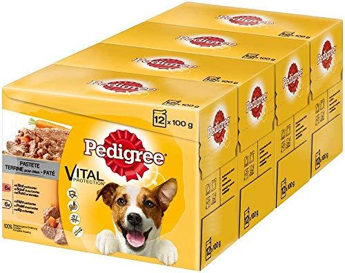 Pedigree Adult Hundenassfutter für ausgewachsene Hunde im Portionsbeutel – verschiedene Sorten, 4 x (12 x 100g)