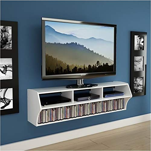 Pemberly Row 58' Floating TV Stand Shelf Wall Mounted Entertainment Center in White