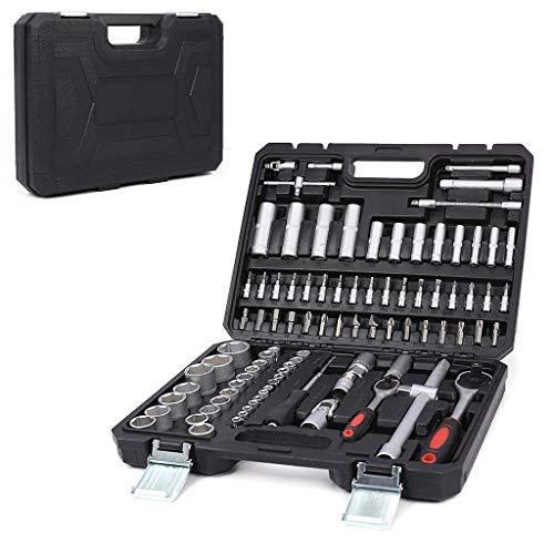 Praktische 94-delige dopsleutelschroevendraaierbits 1/2 en 1/4 inch dopsleutelset Chroom-vanadium ratelschroevendraaier-doppenset