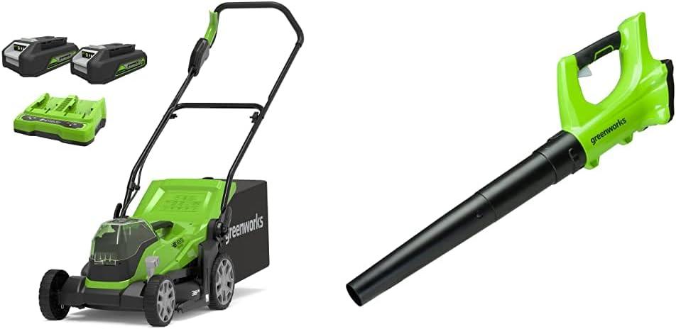 Greenworks Tools Cortacésped con batería G24X2LM36K2x, Li-Ion 24VX2 36 cm Ancho Corte + Soplador de Hojas de Batería G24AB, Li-Ion 24V 160 km/h Velocidad del Aire