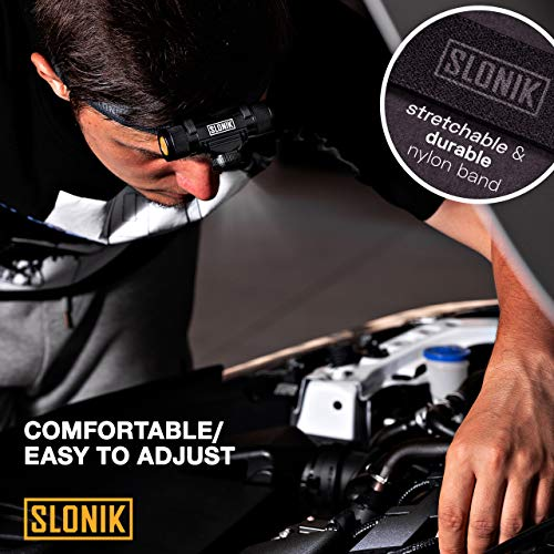 SLONIK 500 Lumen Rechargeable LED Headlamp w/ 2200 mAh Battery - Durable, Waterproof and Dustproof Headlight - Xtreme Bright 300 ft Beam - Camping and Hiking Gear