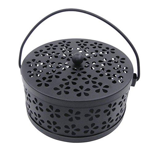 VORCOOL Mosquito Coil - Caja antimosquitos con quemador de incienso con mango vintage (negro)