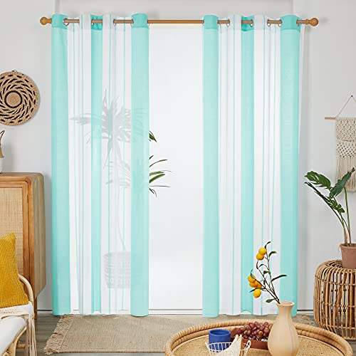 Deconovo Cortinas Salon, Translucidas, de Diseño Moderna para Habitación, con Ojales, 140x245cm(Ancho x Alto), Azul Verde, 2 Piezas