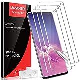 MASCHERI [3 Stück Schutzfolie für Samsung Galaxy S10, Samsung Galaxy S10 Folie, [Blasenfreie] [Ausgestattet mit einem Einbaurahmen][Fingerabdruck kompatibel] Klar HD Weich TPU Bildschirmschutzfolie