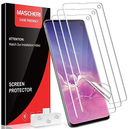 MASCHERI [3 Stück Schutzfolie für Samsung Galaxy S10, Samsung Galaxy S10 Folie, [Blasenfreie] [Ausgestattet mit einem Einbaurahmen][Fingerabdruck kompatibel] Klar HD Weich TPU Displayschutzfolie