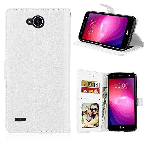 Capa para LG X power 2 / K10 Power proteção de couro PU com 3 compartimentos para cartões capa flip (Branco)