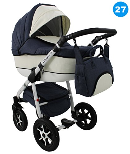 Kombi Kinderwagen Travel System QUERO BABYSPORTIVE 3in1 Buggy Sportwagen + Babyschale Carlo 0-10kg (27. jeans - muster)
