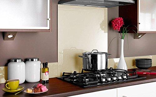 Vidriopanel Panel DE Vidrio para Cocina en Color Crema 60x60 (59,6cm x 59,6cm) / Cristal de Protección Salpicaduras en Diferentes Medidas para frentes de cocinas
