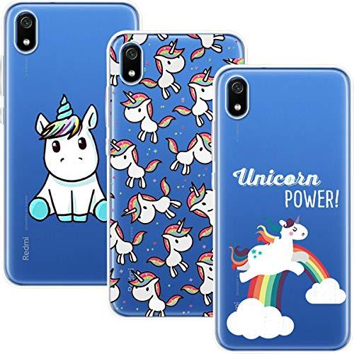 Young & Ming Compatible para Xiaomi Redmi 7A Funda, (3 Pack) Transparente Ultrafina Carcasa Delgado antigolpes Resistente, Unicornio