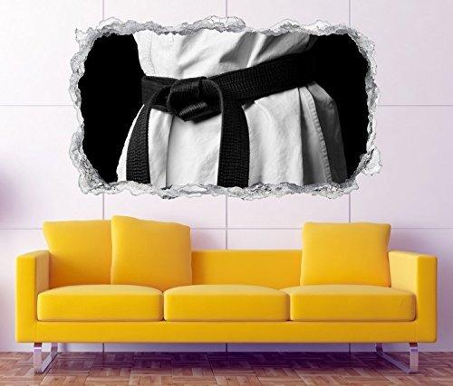 3D Wandtattoo Sport Karate schwarzer Gürtel Wand Aufkleber Durchbruch Stein selbstklebend Wandbild Wandsticker 11N707, Wandbild Größe F:ca. 97cmx57cm