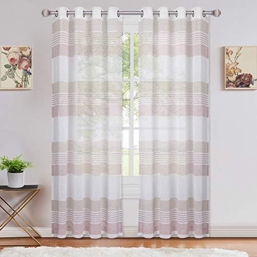 LinTimes Tenda trasparente, sciarpa, tende in voile a righe con occhielli, tenda per finestra semitrasparente per soggiorno, camera da letto, set di 2, 132 * 160 cm, rosa