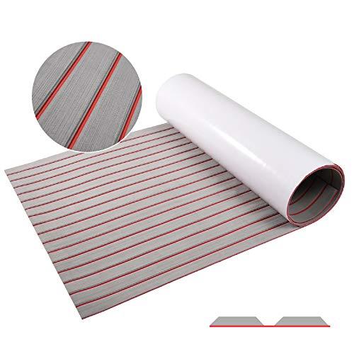 "Tseipoaoi EVA Foam Faux Teak Boat Flooring,Self-Adhesive Teak Floor Decking Sheet for Yacht Marine Floor Carpet (Grey with Red Lines, 94.5""x36"")"