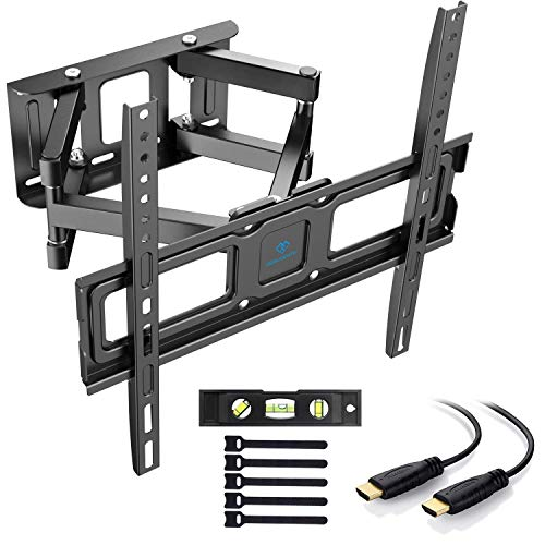 PERLESMITH Supporto da parete per TV, orientabile e inclinabile, per TV o monitor da 32-55 pollici, fino a 45 kg, VESA 400 x 400 mm