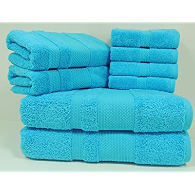 PAMCOTTON Premium Quality 8 piece of Towel Set (2 Bath Towels, 2 Hand Towels and 4 Washcloths) Bosphorus Collection, Turkish Cotton, 600GSM, Luxury Hotel&Spa, Ultra Soft&Absorbent, AQUA