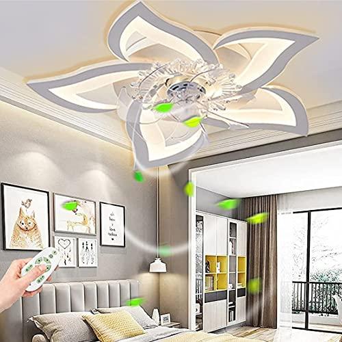 LED Dimmerabile Ventilatore, Ventilatore da Soffitto in Stile Moderno con Luci con Telecomando e Controllo Tramite Mute con Lampada e Telecomando, Timer,Ultra-Silenzioso,con Funzione Inverno/Estate