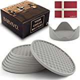 Barvivo Drink Coasters Set of 8 /w Holder - Tabletop Protection for Any Table Type, Wood, Granite, Glass, Soapstone, Sandstone, Stone Tables - Perfect Soft Coaster Fits Any Size of Drinking Glasses