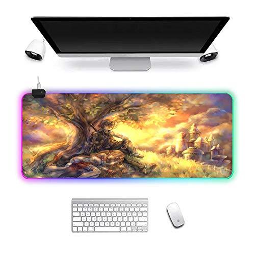 RGB Gaming Mouse Pad 14 Lichtmodi, XXL Mausmatte, rutschfeste Gummibasis, langlebige genähte Kante Anime Schwert Art Online 700x300x3mm