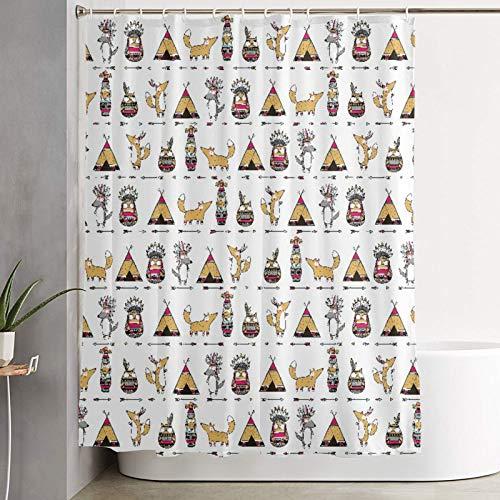 VINISATH Duschvorhang,Nahtlose ethnische lustige indianische Tiere Füchse Eulen Wölfe,wasserdichter Badvorhang mit 12 Haken Duschvorhangringen 180x180cm
