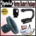 "Opteka Deluxe Vortex ""Skaters"" Package (Includes the Opteka Platinum Series 0.2X HD Panoramic ""Vortex"" Fisheye Lens, X-GRIP Camcorder Handle, & 3 Watt Video Light) For Samsung SC-DX100, SC-DX103, SC-DX105, SC-DX200, SC-DX205, SC-MX20, SMX-F30, SMX-F33 and"