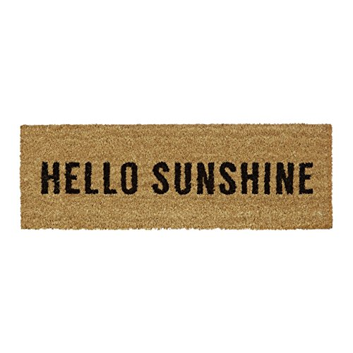 Relaxdays Fußmatte schmal Hello Sunshine Fußabtreter aus Gummi PVC Kokos geeignet für Balkon Terrasse Flur als Fußabtreter für Innen und Außen aus nachhaltiger Produktion HBT 1,5 x 75 x 25 cm, Natur