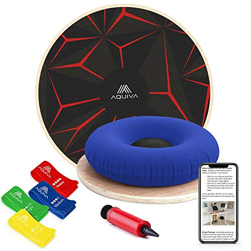 AQUIVA Wooden Wobble Balance Board Equipment with...