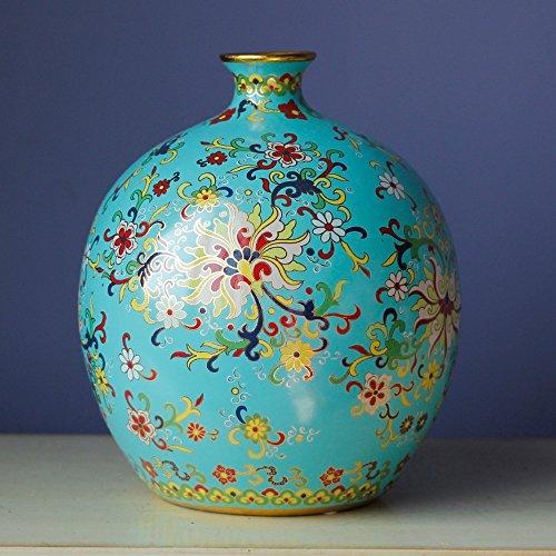 YANGFH Keramik vase Neue chinesische Cloisonne Handwerk handgemalte dekorative Wohnzimmer wohnaccessoires Dekoration Desktop-Dekoration