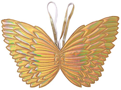 Ohnanana Butterfly Fairy Wings for Toddler Girls for Tinkerbell Unicorn Party Birthday Favors Halloween Costumes Dress Up 2-5 Years Old(Gold Holo)