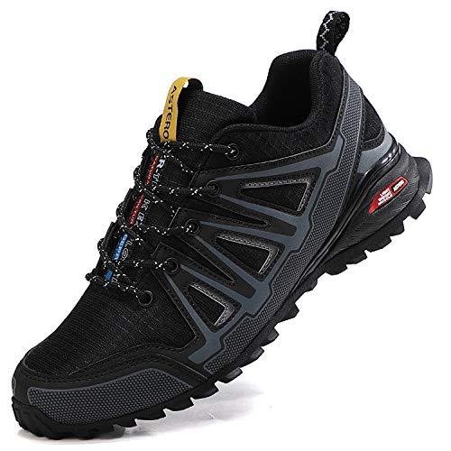 ASTERO Laufschuhe Herren Traillaufschuhe Turnschuhe Straßenlaufschuhe Sneaker Fitnessschuhe für Outdoor Joggingschuhe Walkingschuhe Sportschuhe gr.41-46 (EU, COOL SCHWARZ, Numeric_44)